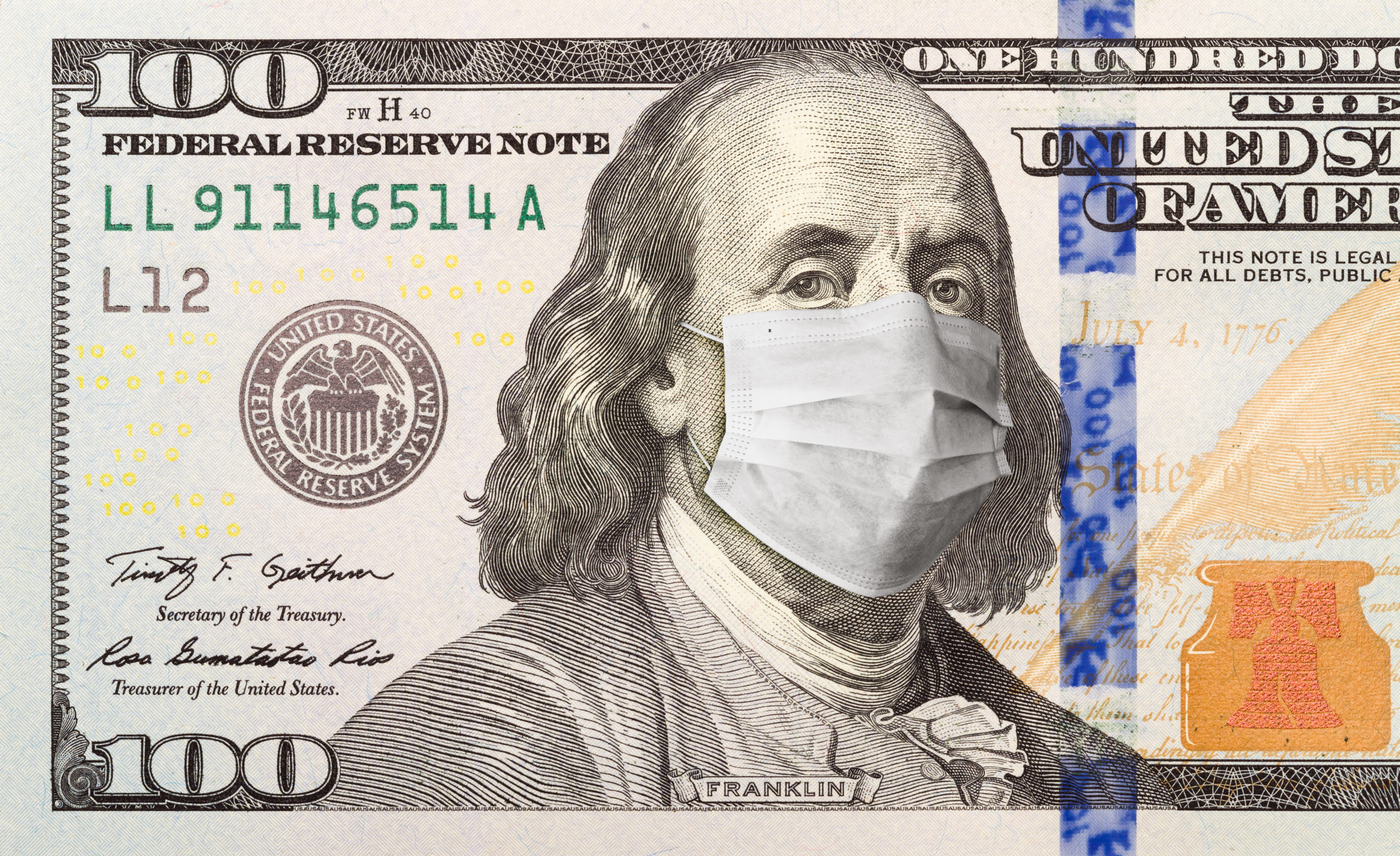 Hundred Dollar Bill With a facemask